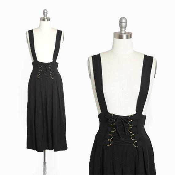 Suspender dress | Vintage 90s black lace up suspen
