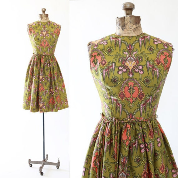 Baroque scroll dress | Vintage 50s silk dress | 50