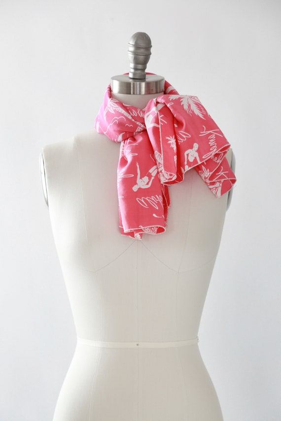 Pink Hawaiian scarf | Vintage 40s tropical Hawaii… - image 5