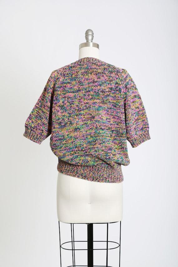 Rainbow V-neck sweater   Vintage 80s hand knit ra… - image 7