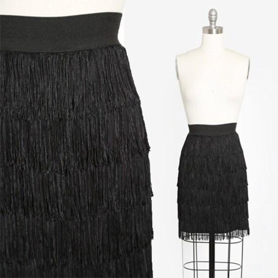 Vintage 80s black fringe mini skirt