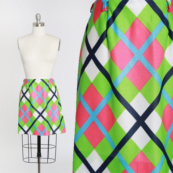 60s argyle neon mini skirt