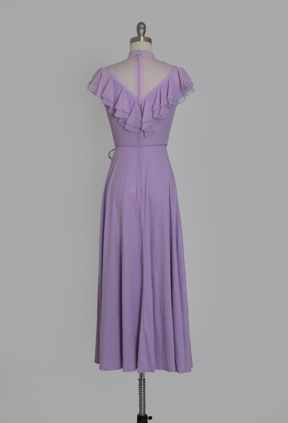 Lilac ruffle maxi   Vintage 70s sheer floral ruff… - image 7