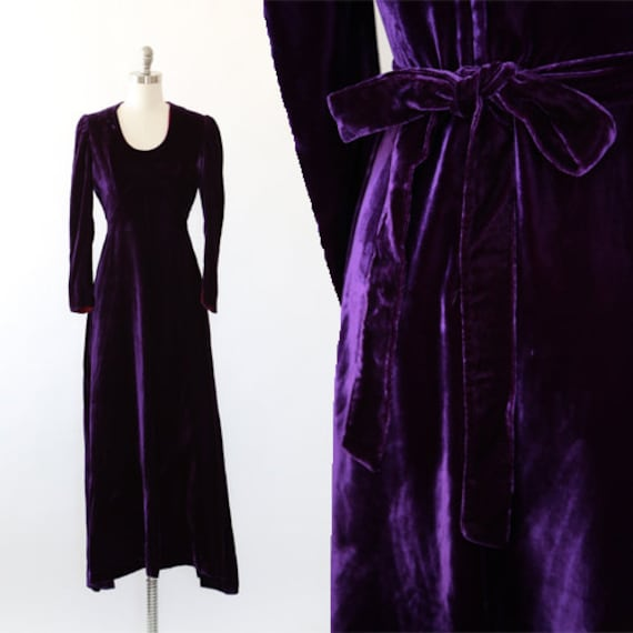 Mauve velvet maxi dress | Vintage 70s purple Velve