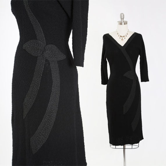 Snyderknit dress | Vintage 40s black knit dress |