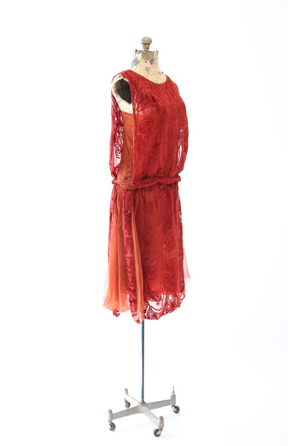 SILK Art drop cocktail dress orange 20s waist deco party Vintage velvet Flapper xTFEfg