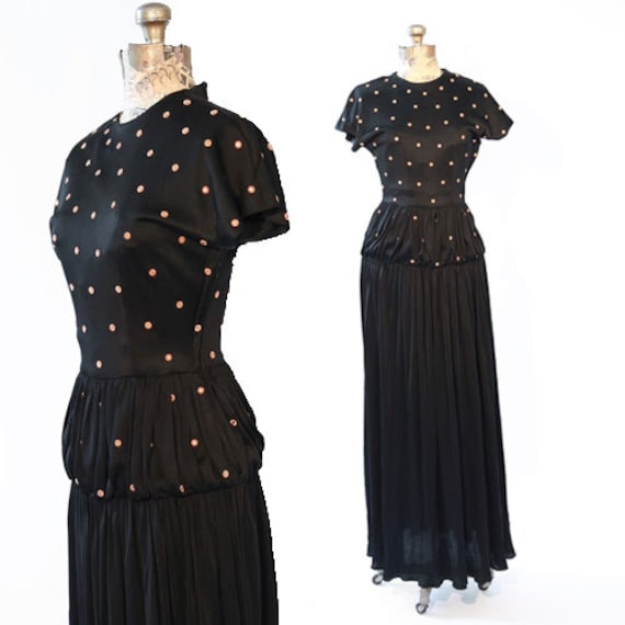 30s Antique studded gown |  Vintage 30s 40s black