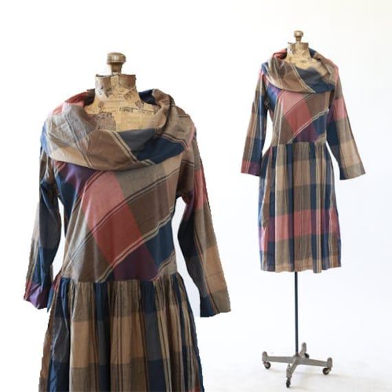 Plaid midi dress | Vintage 60s Cowl neck cotton pl