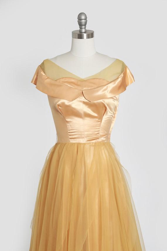 50s gold satin dress | vintage 1950s satin chiffo… - image 3