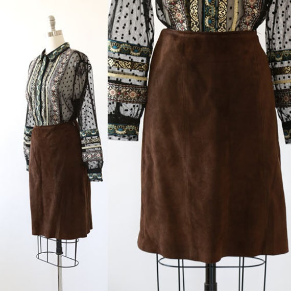 Coco leather skirt | Vintage 60s brown suede leath