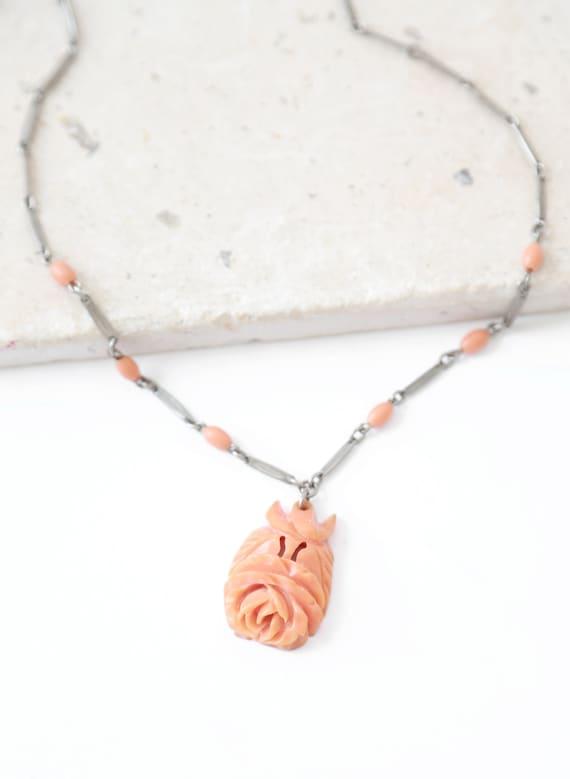 Antique vintage 40s carved bakelite rose coral nec