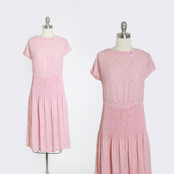 Floral dress | Vintage 70s does 30s pink floral ac