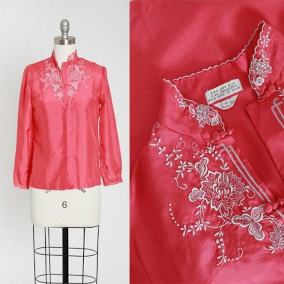 50s Pajama blouse | Vintage 50s hand embroidered p