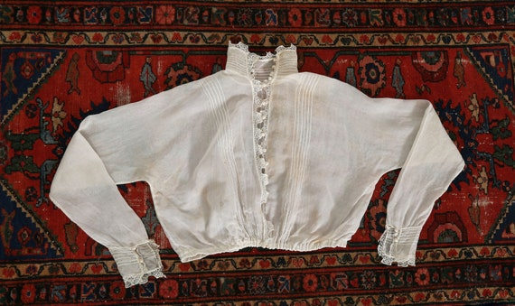 Antique 1900s Victorian crochet sheer white cotto… - image 1