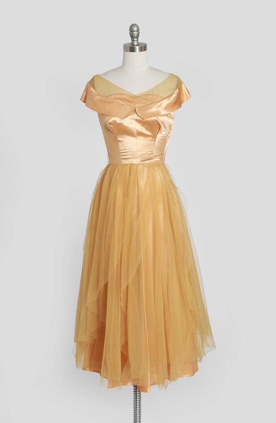 50s gold satin dress | vintage 1950s satin chiffo… - image 2