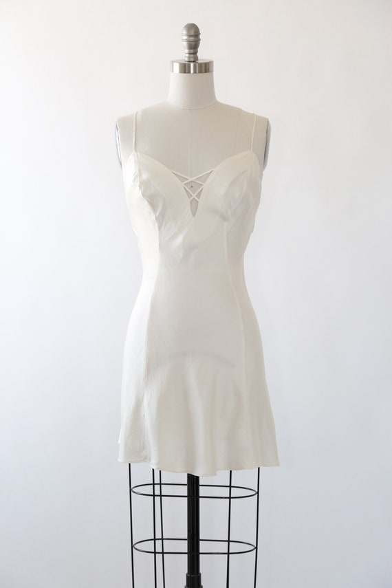 90s silk slip dress | Vintage 90s Ivory silk slip… - image 8