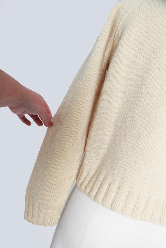 40s hand knit ivory wool cardigan - image 6
