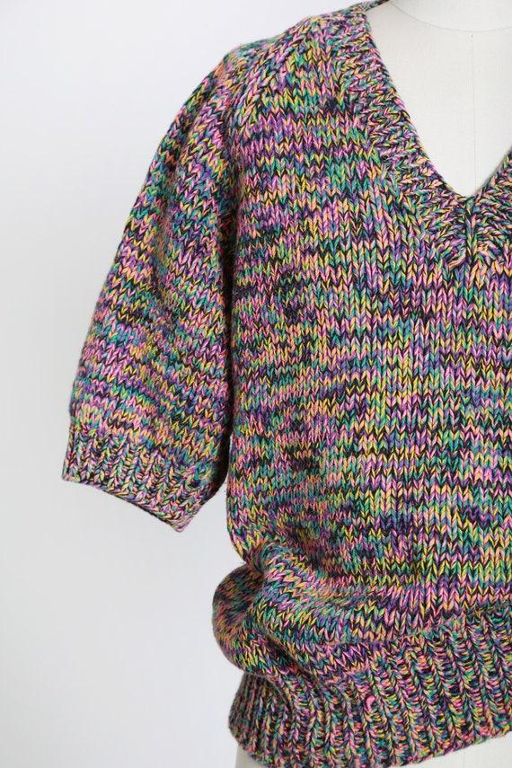 Rainbow V-neck sweater   Vintage 80s hand knit ra… - image 3