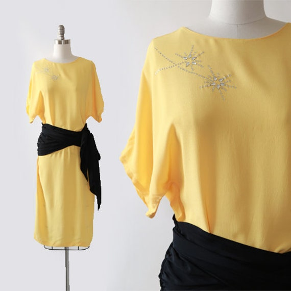 Sterling Silver dress  | Vintage 90s 40s yellow co