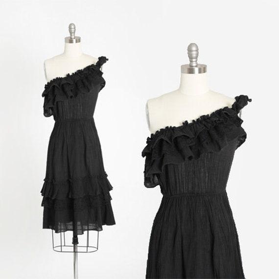 Phase II gauze dress | Vintage 1970s one shoulder