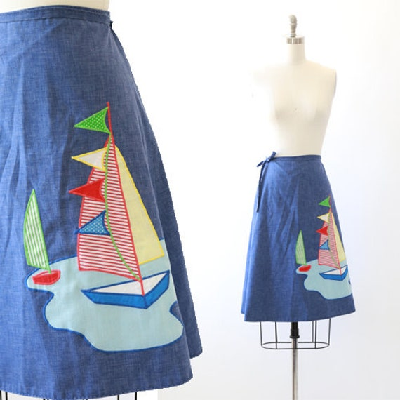 Chambray Sailboat wrap skirt | Vintage 70's chambr