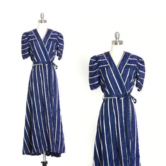 40s satin robe | Vintage 1940s striped belted dres