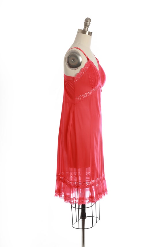 Bias cut slip dress   Vintage 40s 50s Hot pink sl… - image 5