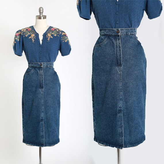 Pioneer wear jean skirt | Vintage 80s Denim skirt