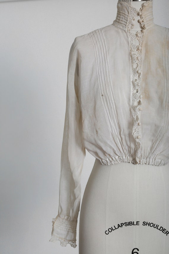 Antique 1900s Victorian crochet sheer white cotto… - image 6