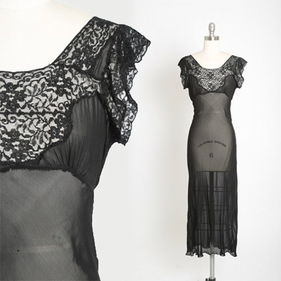 Bias cut slip dress | Vintage 40s black silk lace