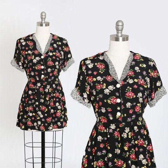 90s petite floral babydoll mini dress