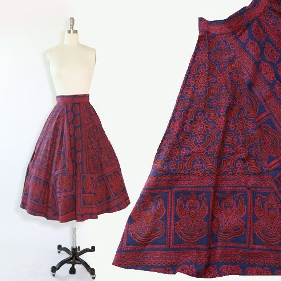 Batik ethnic skirt | Vintage 50s Indian cotton ski