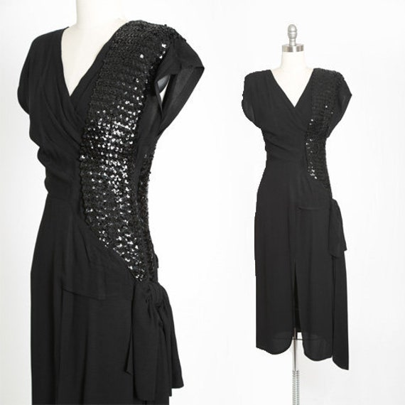 Killer diller 40s dress | Vintage 40s black sequin