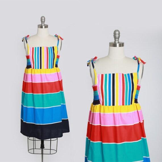 Rainbow mini Dress | Vintage 80s striped rainbow c