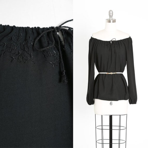 Off the shoulder blouse | Vintage 70s black embroi