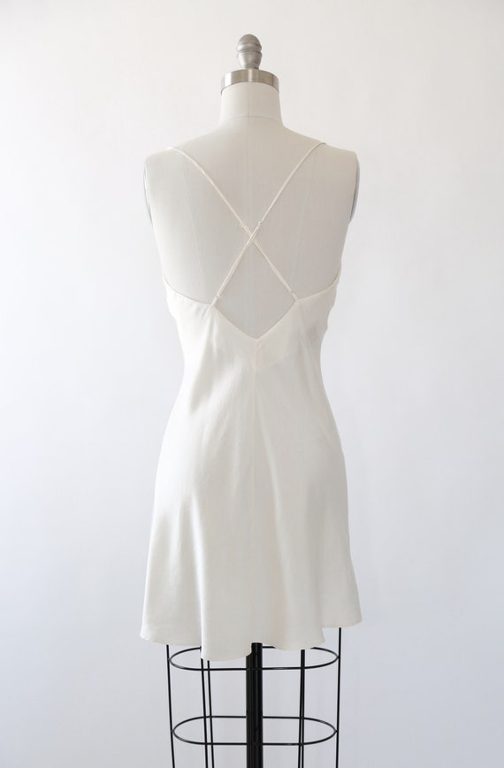 90s silk slip dress | Vintage 90s Ivory silk slip… - image 9