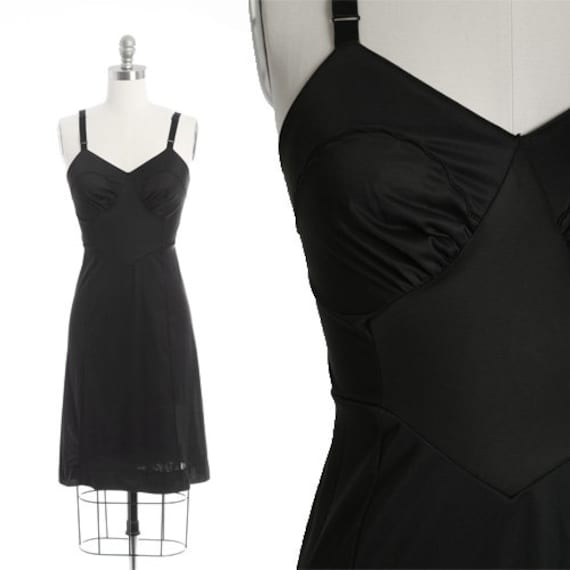 Bias cut slip dress | Vintage 40s black nylon slip