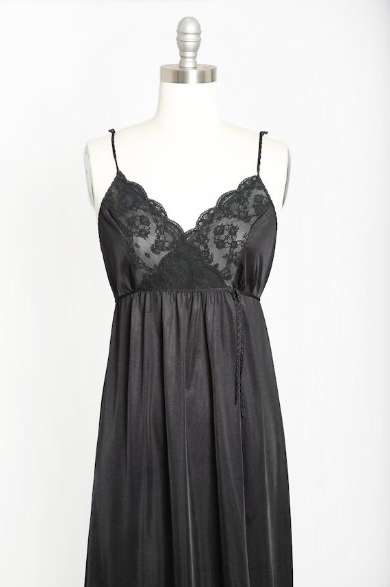 Gilead slip dress | Vintage 70s black floral maxi… - image 2