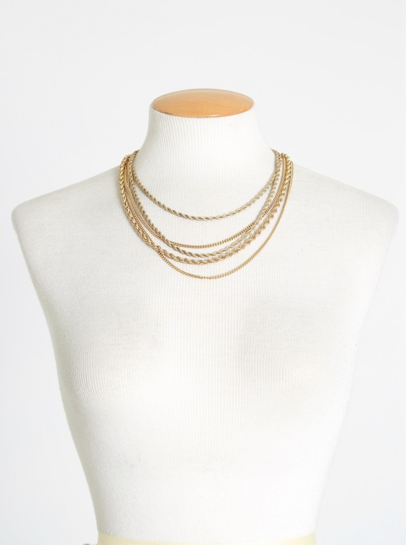 Monet gold chain | Vintage 70s 80s Multi Layered g