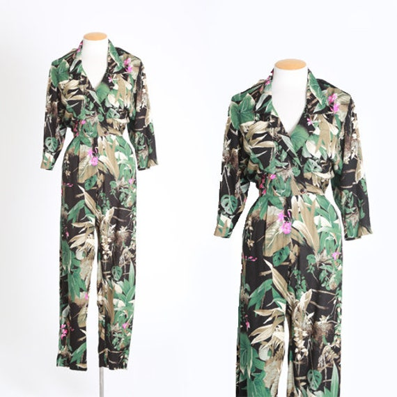 Jungle jumpsuit | Vintage 80s Tropical Jungle flor