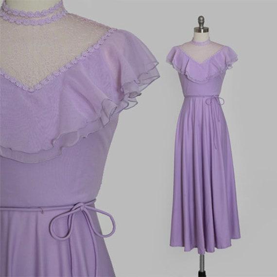 Lilac ruffle maxi   Vintage 70s sheer floral ruff… - image 1