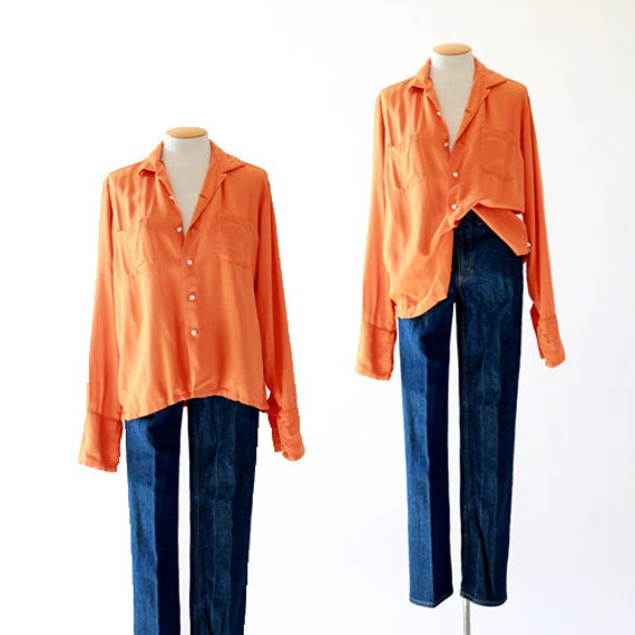 California Orange blouse | Vintage 50s long sleeve