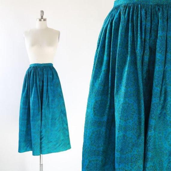 50s silk skirt | Vintage 50s floral high waist ski