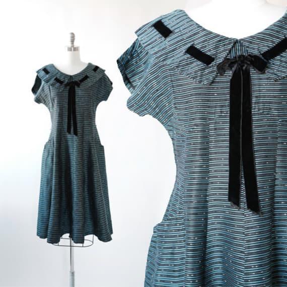 New look taffeta dress | Vintage 40s 50s blue ribb