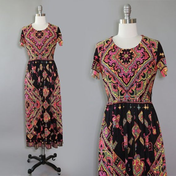 Baroque maxi dress | Vintage 60s Abstract floral P