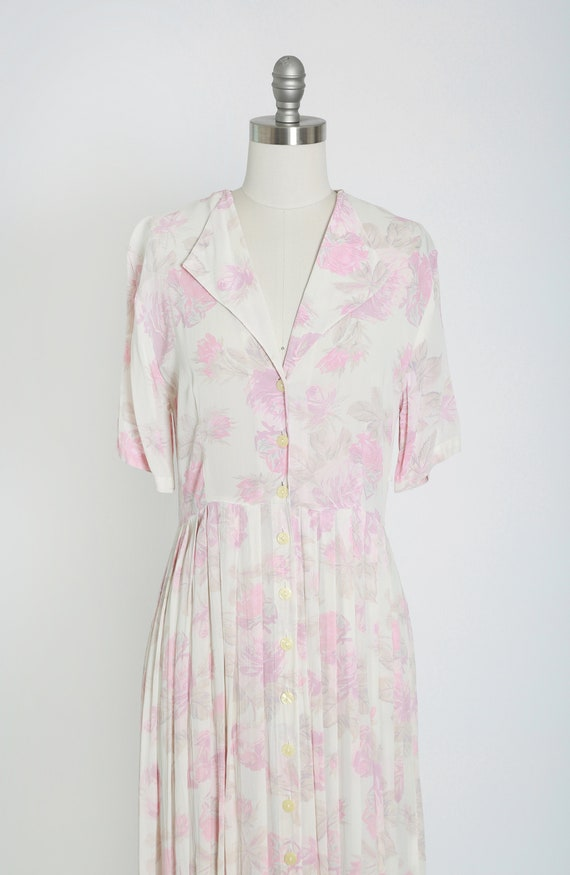 Rose midi dress | Vintage 70s 30s semi sheer pink… - image 3