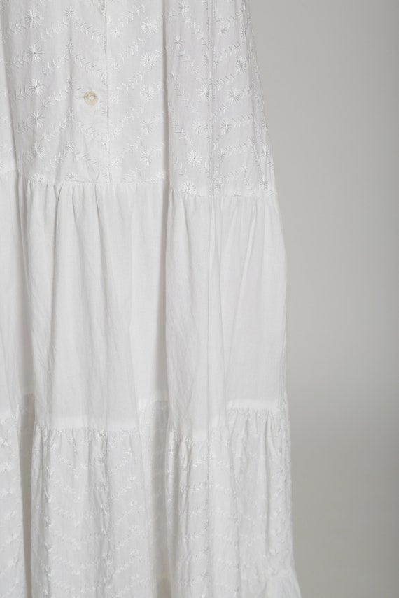 90s white cotton halter dress   1990s embroidered… - image 5