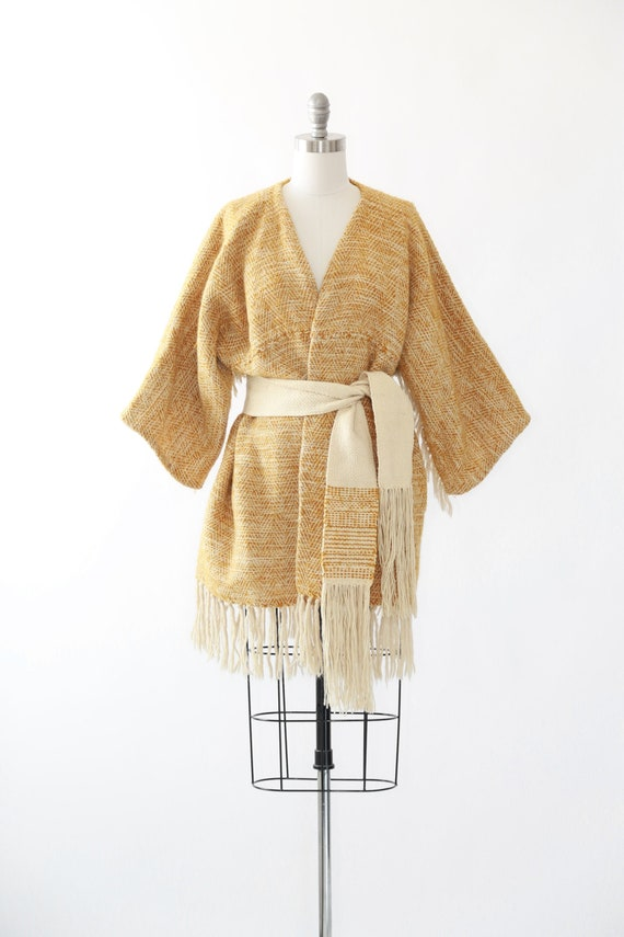 Mustard woven tapestry wrap jacket   Vintage 60s h