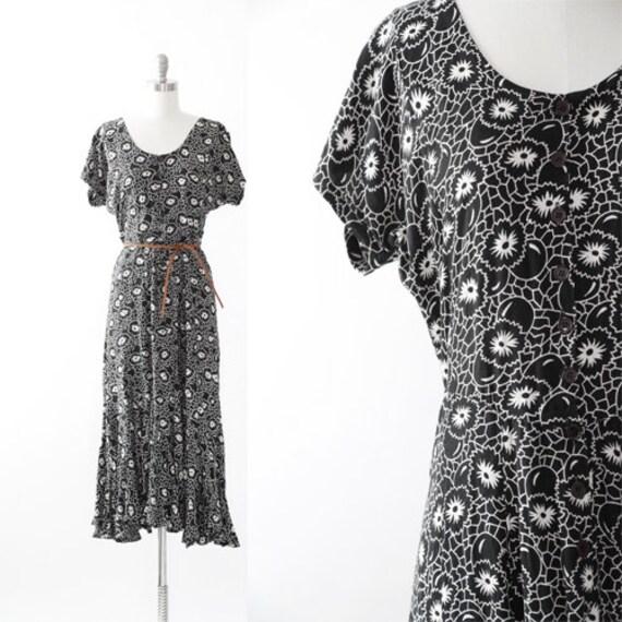 Floral maxi dress | Vintage 90s floral Dot rayon m