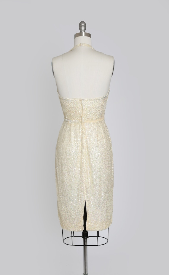 VLV 1950s Dress Marilyn Monroe Wiggle Sheath Silk with Sequins Size S